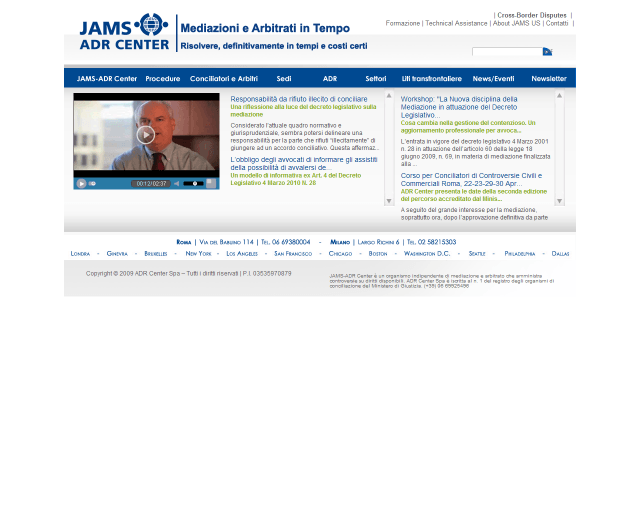 JAMS-ADR Center SpA | Web Design e gestione